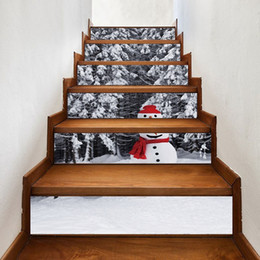 trees 3d wall mural 2021 - 3D Christmas Tree Snowman Staircase Stickers Self Adhesive Xmas Murals Wallpaper Christmas Indoor Decorations for Stairway home decor