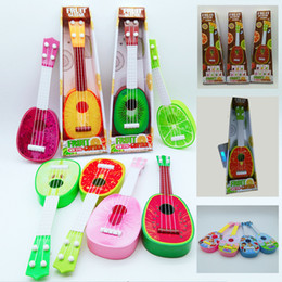 child guitars 2018 - Children Guitar Toys Cartoon Fruits Printed Ukulele For Kids Early Education Musical Instruments Toys Gifts Free DHL A83