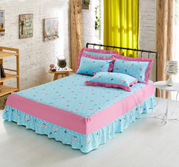 pink bedspreads queen size NZ - Blue floral 1pcs flowers Cotton bed skirt bedspread twin full queen size Mattress Protective Cover Bed Skirt bedspreads