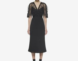 Poncho Dresses NZ - Runway New design women's black color v-neck poncho cloak lace patchwork short sleeve high waist midi long dress vestidos