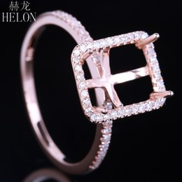 emerald cut wedding set Canada - HELON 8.5x6.5mm Emerald Cut Solid 10k Rose Gold Natural Diamonds Semi Mount Setting Ring Engagement Wedding Women Trendy Jewelry