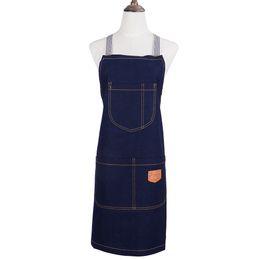 $enCountryForm.capitalKeyWord NZ - 2017 new Fashion cowboy apron Cotton denim Sleeveless pinafore Blue   black work uniform Coffee shop apron Unisex clean Avental
