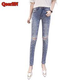 $enCountryForm.capitalKeyWord Australia - QoerliN Hot Women Jeans Pants Skinny Pearl Beaded Front Jeans 2018 Summer Spring Mid Waist Zipper Fly Long Denim Casual Trouser