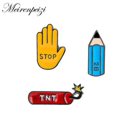 wedding stationery wholesalers Canada - Stationery Lovers 2B Pencil TNT Stop Gesture Metal Soft Enamel Pin Lapel Badge Brooch For Kids Children Jean Bag Clothes
