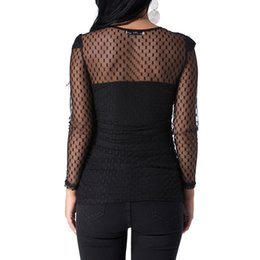 $enCountryForm.capitalKeyWord UK - Women Blouses 2018 Casual Slim See Through Transparent Mesh O Neck Long Sleeve Sheer Blusas Shirt Ladies Sexy Tops Tee Plus Size