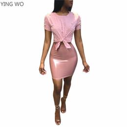 83bde36d9070 ... женская мода две части набор черный / розовый / белый / красный с  коротким рукавом растениеводство топы искусственная кожа пакет бедра юбка  костюм
