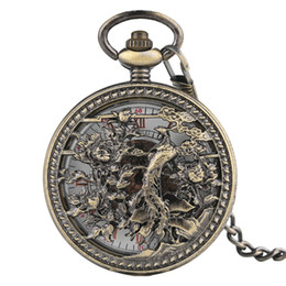 cool stylish glasses UK - Cool Phoenix Vintage Pendant Stylish Skeleton Automatic Bronze Copper Fashion Steampunk Men Trendy Mechanical Pocket Watch Gift