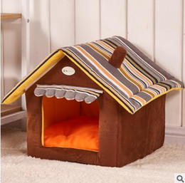 fall bedding 2019 - Dog Houses Fall Winter Warm Striped Removable Cover Mat Dog House Dog Beds For Small Medium Dogs Pet House Pet Beds for