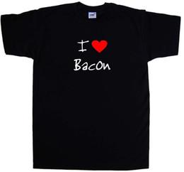 Eu Amo O Bacon Do Coração T-Shirt Da Luva Harajuku Tops Dos Homens de Manga Curta Original Dos Desenhos Animados Hip Hop Camisa Moda Algodão T-Shirts venda por atacado