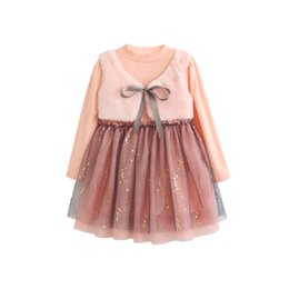 952392f4ecc sequin mesh gown 2019 - 2018 new girl fake two pink Sequin princess dress  small plus