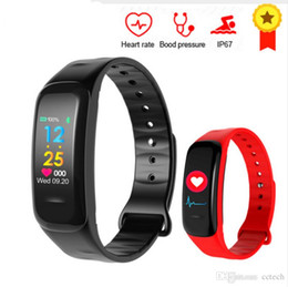 Wrist Band Pedometer Australia - 6color New Smart bracelet C18 Blood pressure measurement Color screen heart rate pedometer monitor Fitness tracker band Waterproof wristband