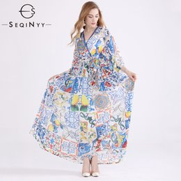 Wholesale SEQINYY Chiffon Dress Summer New Women s Plus Size XL Flare Sleeve Blue White Porcelain Flowers Printed Elegant Dress