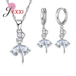 d94ac95e7929 JEXXI Diseño de Bailarina de Calidad Superior Conjunto de Joyas de Plata de Ley  925 Cubic Zircon Collar Colgante Pendientes de Aro Regalos de Mujeres