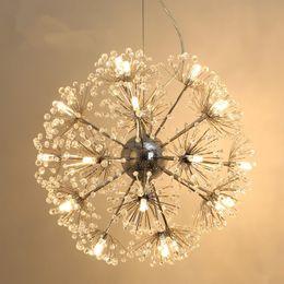 $enCountryForm.capitalKeyWord NZ - Dandelion Flower LED Pendant Lamp K9 Crystal Ball Star Suspension Light Handing Light Modern For Dinning Room Bar Kitchen Home Lighting B026