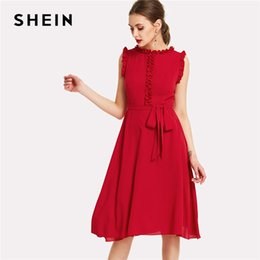 a1254eef73a4 Xs Elegant Dresses NZ - SHEIN Red Frill Self Belted Dress Women Round Neck  Sleeveless Zipper