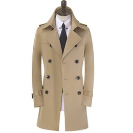 mens long double breasted overcoat Canada - Free shipping mens long coat trench mens clothing spring and autumn plus size casual double breasted Trench Coat slim overcoat men coat