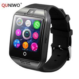 2018 QUNIWO Bluetooth Smart Watch Men Q18 con touch screen grande supporto per batteria TF Sim Card per Android Phone Men Watch