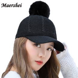 $enCountryForm.capitalKeyWord Australia - MAERSHEI 2018 Winter Hat Women's Wool Baseball Cap Fur Hats For Girls Kintted Cap Fashion Casual Black Pompom Bonnet Gorras