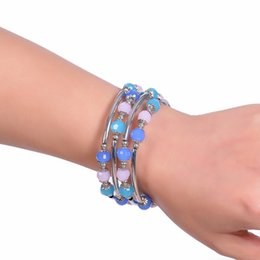 $enCountryForm.capitalKeyWord Australia - Natural Pink Blue Crystal Bracelet Multilayer Twining Strands Geometric Silver Plated Alloy Bracelet For Women Jewelry Accessories Wholesale