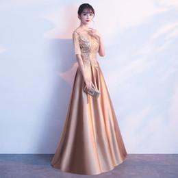Discount long elegant dinner dresses - Mingli Tengda 2018 New Gold Sequins Lace Evening Dresses Sexy O Neck Prom Dresses Elegant Long Banquet Host Dinner Dress