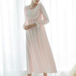9487ed801d Long White Cotton Nightgown Ladies Vintage Home Dress Lace Princess Romantic  Nightdress Plus Size Comfortable Sleepwear  L25