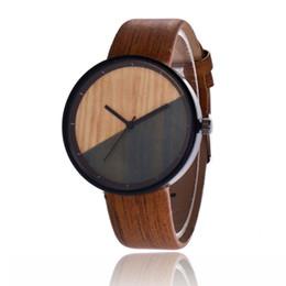5d7802c8a0a Men Women Couple Vintage Round Wood Grain Faux Leather Strap Quartz Wrist  Watch Bracelet dropshipping