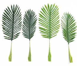 Discount coconut flowers - Fake Palm Leaf Artificial Plastic Coconut Tree Leaves Green Plant DIY Plant for Wedding Home Decoration