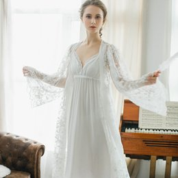 $enCountryForm.capitalKeyWord NZ - Winter sexy pajamas 2 piece Robe beautiful lace gown sling stamp long white nightdress Gown Sets women sleeping dress night wear