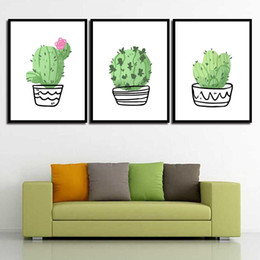 Art Canvas Prints Australia - Watercolor Abstract Quote Nordic Green Cactus Wall Art Poster Print Pictures Canvas Painting For Living Room Home Decoration