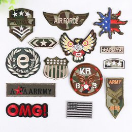 Embroidered Number Patches Australia - 14pcs Military Number Letters Patches Embroidered Iron on For Clothes Army Epaulets Patches irons Fabric Sticker DIY New Military Embroidery