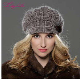 c68f196d1f8 LILIYABAIHE NEW Style Women Winter hat brim hat knitted wool angora hat  Geometric mink flower decoration cap Double warm