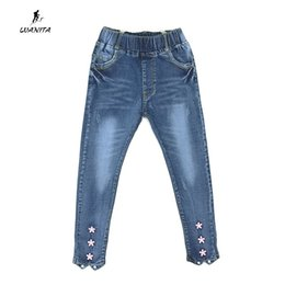 new kids pant design Canada - 2017 New Design Kids Girls Cute Denim Jeans For Girls Flower Bottom Design Elastic Waist Jeans Pants Kids Trousers Age 3-12Yrs