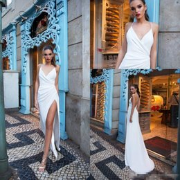 Weddings Dresses Slits NZ - Simple Cheap Milla Nova Beach Wedding Dresses 2019 Spaghetti Straps Sheath Thigh-High Slits Backless Country Wedding Gowns
