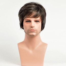 $enCountryForm.capitalKeyWord Australia - Short Straight Men's Wigs Pixie Cut Natural Brown Color Synthetic Men's Wig Heat Resistant Hairstyle With Bang For Male