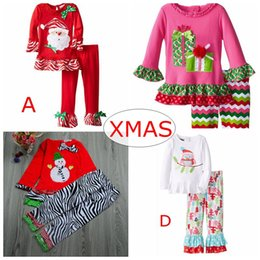 Wholesale Xmas Snowman Owl Print ins girls christmas outfits fall boutique kids clothing sets baby santa ruffle sleeve tops kids elk pants set