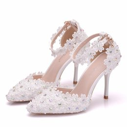 Thick White Wedding Shoes Australia - New Summer elegant pointed toe shoes for women White lace flowers high heel wedding shoes thick heels Beautiful AB Crystal Plus Size Shoes