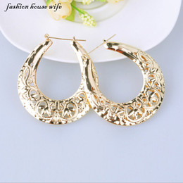 Large Housing Australia - whole saleFashion House Wife Fashion Hollow Out Pattern Hoop Earrings Geometric Gold Large Earrings For Women Party Jewelry Gift LE0051
