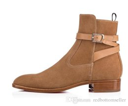 $enCountryForm.capitalKeyWord UK - 2018Classics Brand Red Sole Designer Brown Black Suede Calf Leather Kicko Jodhpur Boots Cool Men Ankle Boot Thick Sole With Belt Top Quality