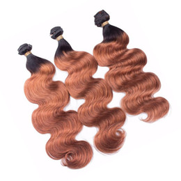 two bundles remy virgin hair 2019 - Dark Auburn Body Wave Human Hair Bundles Two Tone 1b 33 Brown Hair Extension Peruvian Virgin Hair Weft Remy Soft Weaves