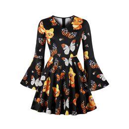 97d08c538f76 2018 Autumn Sweet Cute Fashion Vintage Women Dress A-line Flare Sleeve  Pullover Zipper Print Girls Plus Size Female Mini Dresses