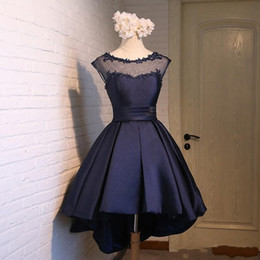 cheap blue caps NZ - Navy Blue High Low Cocktail Prom Dresses Jewel Sheer Neck Cap Short Sleeves Applique A line satin Lace Cheap Homecoming Formal Dress Gowns
