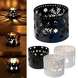 Deer Blocks NZ - Christmas Candle Holder Vintage Moroccan Decor Lanterns Hollow Christmas Candle Holder Iron Hollow Snowflake Tree Deer Home Party Decoration