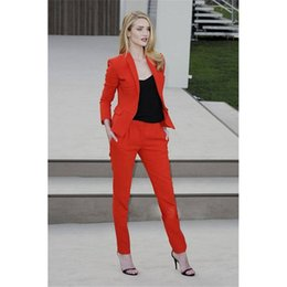 Taffeta Suits Canada - New Bespoke Orange 2 Piece Suit Womens Fitted Suits Trouser Suits for Ladies Female Show Wear