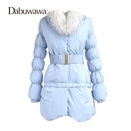 Womens Down Parka NZ - Dabuwawa Blue Warm Coat Casual Womens Down Jackets With Belt Brands Thick Cotton Outerwear Parkas