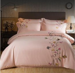 king size butterfly bedding sets 2019 - 2017 Egypt Cotton pink Butterfly Embroidery Luxury Bedding Set 4Pcs King Queen Size girls Bed set Duvet Cover Bed Sheet