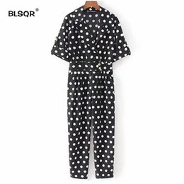 23e4f45d66 wholesale 2018 Cute Dots V Neck Jumpsuits Pockets Short Sleeve Pleated Rompers  Playsuits Vintage Female Fashion Casual Pants