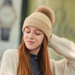 Braiding Hair Cap NZ - 2018 New Autumn Winter Hats Solid Color Light Board Braid Hair Ball Knit Hat Elegant Light Pink Ladies Outdoor Warm Earmuffs Wool Cap