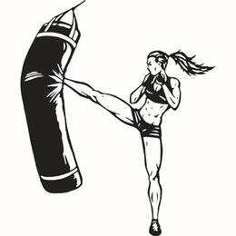 $enCountryForm.capitalKeyWord NZ - Women's Boxing Sports Fitness Wall Stickers Self-adhesive Waterproof PVC Wallpapers Arts Murals Can Be Removable Sitting Room Bedroom Decor