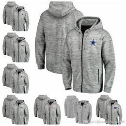 Full Zip Jacket Polyester Australia - Jackets Cowboys Broncos Packers Rams Patriots Giants Seahawks Pro Line by Fanatics Branded Space Dye Performance Full-Zip Hoodie