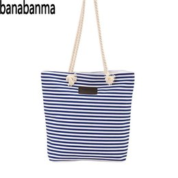 13793f015e Banabanma Ladies Handbag Girls Shopper Canvas Tote Bag Casual Striped Women  Large Shoulder Bag Handbag Bags for Women 2018 ZK10